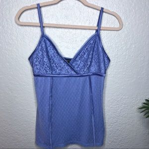 Vintage Express blue tank top with lace detailing